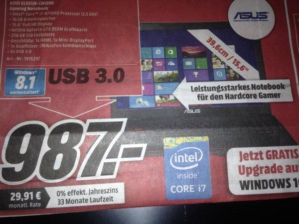 (LOKAL NRW) Media Markt SPARRIBA Verbund: ASUS GL551JK-CN128H nur 987€ // idealo: 1199€