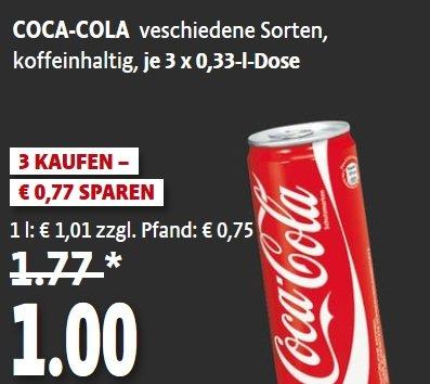 [Kaisers] 3 x 0,33l-Dose COCA COLA  1€