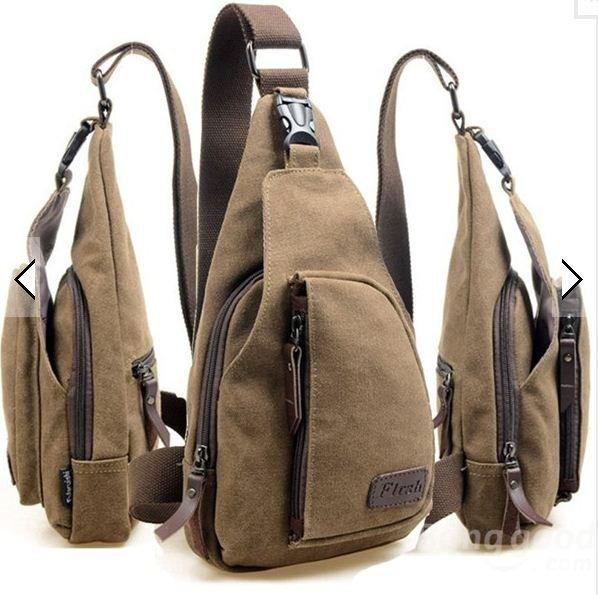 Men Canvas Backpack Shoulder Chest Hiking Bag @ Banggood