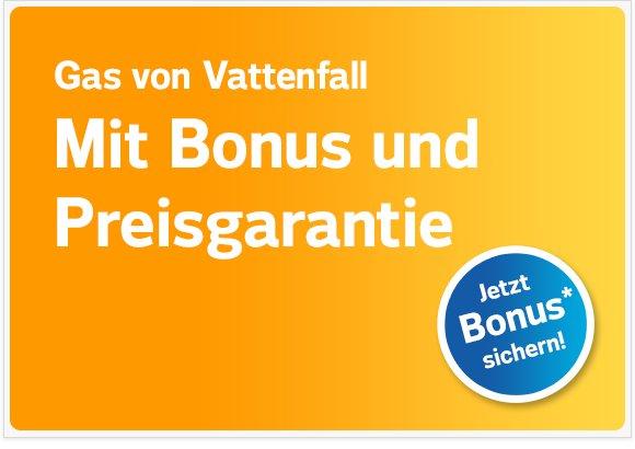 Update: VATTENFALL Gas mit insgesamt € 310,- rekordverdächtigem Bonus - jetzt bei Abschluss bis 15.09.2015