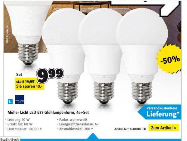 [Conrad] 4er-Set LED E27 (10W = 60W, warmweiß) für 9,99€ versandkostenfrei