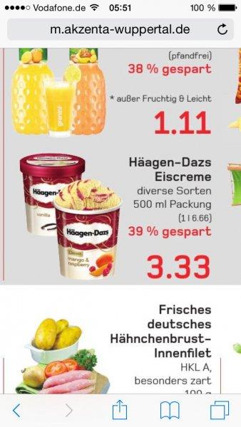 [Akzenta Wuppertal] Häagen Dasz 500ml für 1,83 Euro mit Coupies
