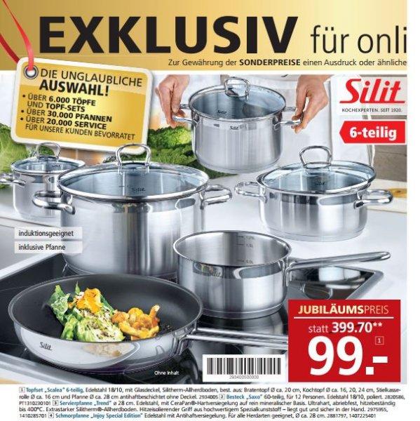 Silit Topf-Set 6-teilig inkl. Pfanne für 99€ bei Segmüller