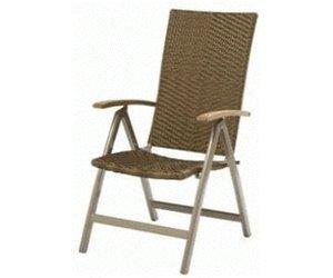 Gartenstuhl im Ratanlook mit Teakarmlehnen und verstellbarem Rückenteil für 86,32€