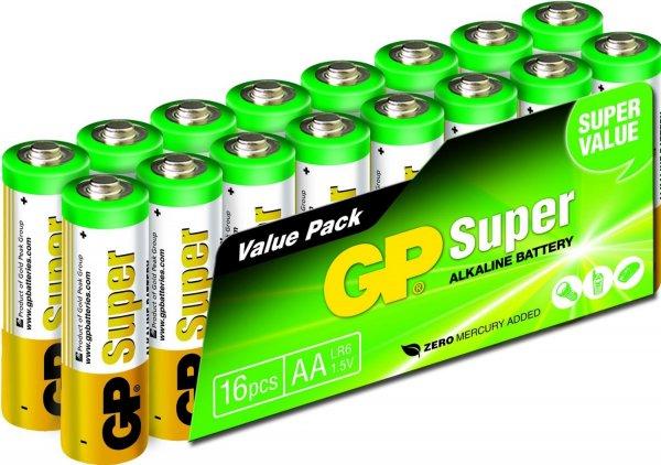 [Amazon-Prime] GP GP15A-2VS16 LR6 Super Alkaline AA Mignon Batterie (16-er Pack)