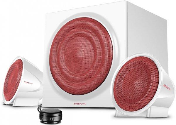 Speedlink Methron 2.1-Lautsprechersystem (Subwoofer, zwei Satellitenlautsprecher, 45 Watt RMS, Höhen- und Bassregler, Tischfernbedienung) weiß für 44,99 €