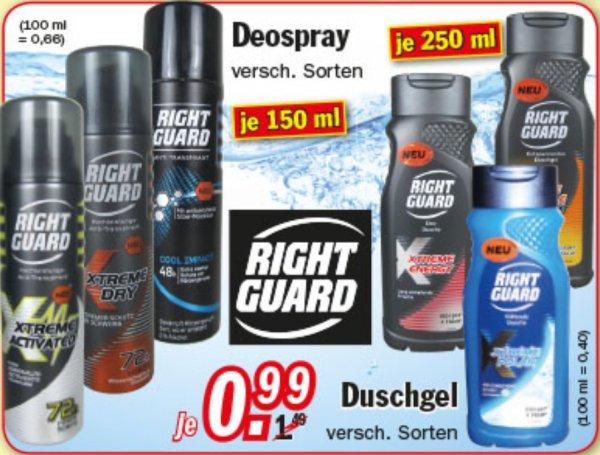 [ZIMMERMANN] Right Guard Deospray 150ml // Duschgel 250ml verschiedene Sorten für 0,99€