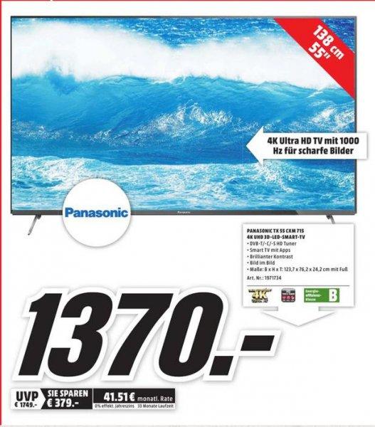 [Lokal Plauen] Panasonic TX-55CXM715, 139 cm (55 Zoll), 4K UHD, 3D LED TV, 1000 Hz für 1.370€ @ MediaMarkt Plauen