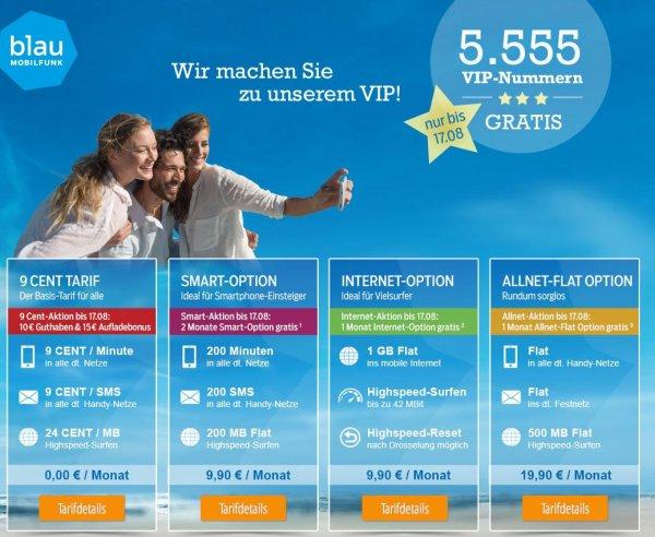 Blau.de vergibt (erneut den Rest der) 5555 VIP Nummern ohne Aufpreis 9,90 € bei 10 € Startguthaben (Prepaid im 9-Cent-Tarif)