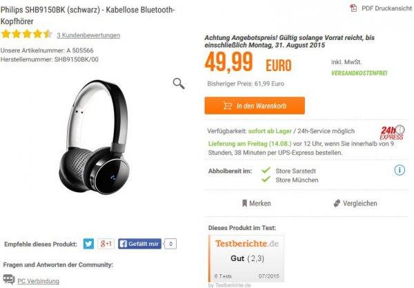 [NBB] Philips SHB9150BK (schwarz) - Kabellose Bluetooth-Kopfhörer für 50€