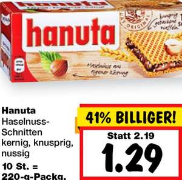 Hanuta 41% billiger, ab Donnerstag den 20.8. nur 1,29€ bundesweit bei [Kaufland]