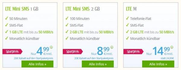 Extrem günstige LTE & Allnet Flat Konditionen bei WinSim - Allnet Flat mit 2GB nur 14,99€
