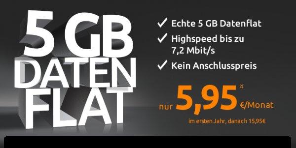 Reiner Datentarif 5GB Mobilcom Debitel 7.2Mbit rechnerisch 11.- im Monat (24Monate)