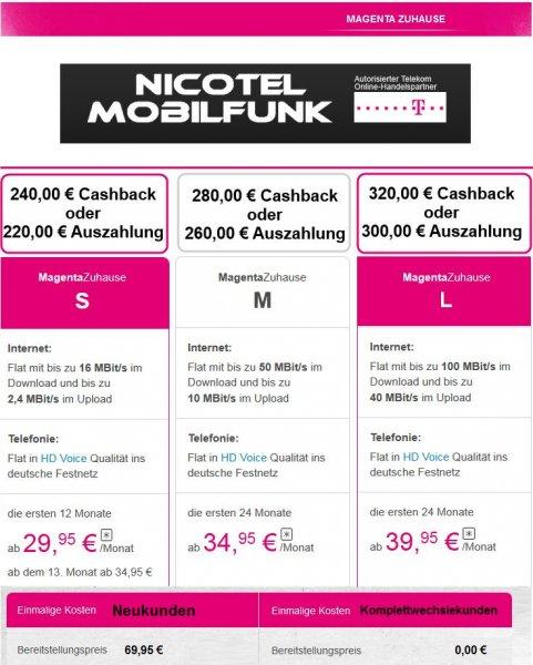 *WOCHENENDKNALLER* Nicotel zahlt bis zu 320,00 € Cashback ( gültig bis 16.08 23:59Uhr ) für Telekom MagentaZuhause Tarife ( auch Friends & Hybrid )