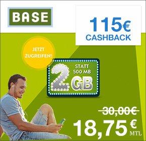 (Qipu) BASE all-in für 18,75 statt 30€ monatlich + 2GB statt 500MB+ 115€ Cashback