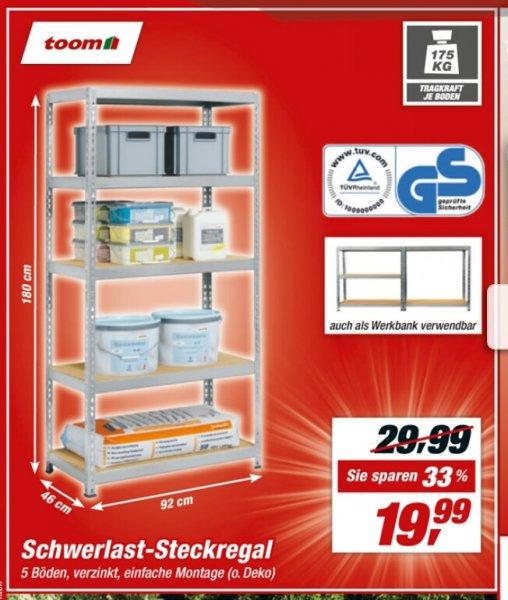 toom Schwerlastregal für 19,99 € vom 15.08 -  22.08