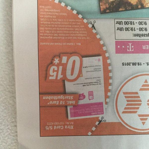[ Neumünster] Telekom Xtra Card 15Cent mit 10.- Guthaben [max 3 stk]