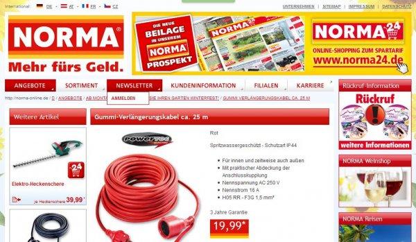 [Norma] (ggf. lokal) ab Montag, 17.8. Gummi-Verlängerungskabel 25m, rot, IP44 auch für außen
