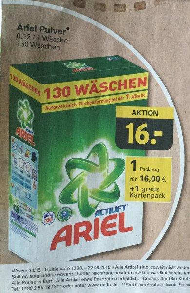 [Netto mit Hund] KW34 Ariel Waschpulver 130 Wäschen für nur 16€