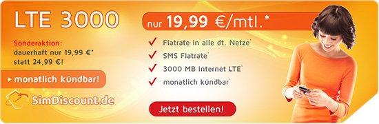 SimDiscount (o2) über Handybude: Allnet Flat / SMS Flat / 3GB LTE Datenvolumen / EU-Option / 1 Multicard für 19,99€ mntl. ohne MVLZ