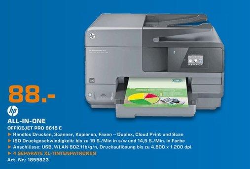 [Lokal Saturn Erfurt] HP Officejet Pro 8615 e-All-in-One Tintenstrahldrucker Farbe WLAN Duplex (Schwarz) für 88,-€+30,-€ Cashback von HP