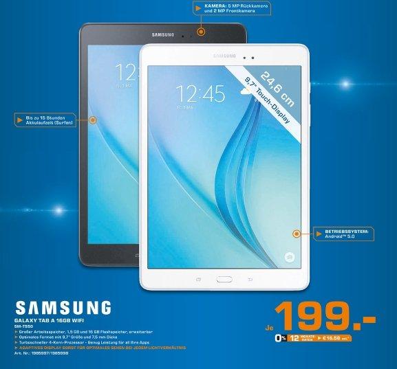 [Lokal Saturn Kleve] Samsung Galaxy Tab A T550N 24,6 cm (9,7 Zoll) Wireless Lan Tablet-PC (Quad-Core, 1,2 GHz, 16 GB, Android 5.0) schwarz oder weiß für 199,-€