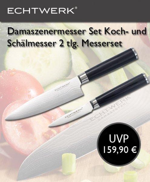 Echtwerk Damastmesser Koch- und Schälmesser 2 tlg. Messerset - 49,99€