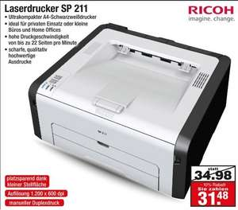 [LOKAL - Netto ohne Hund] Neueröffnung in Oberhausen S/W Laserdrucker Ricoh SP 211 für 31,48 Euro