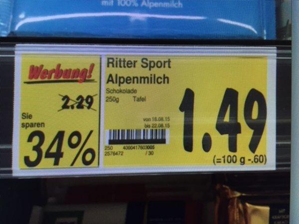 [KAUFLAND LIMBURG - REGIONAL] Ritter Sport 250 Gramm 34% günstiger! Alle Sorten nur 1,49 Euro statt 2,29 Euro