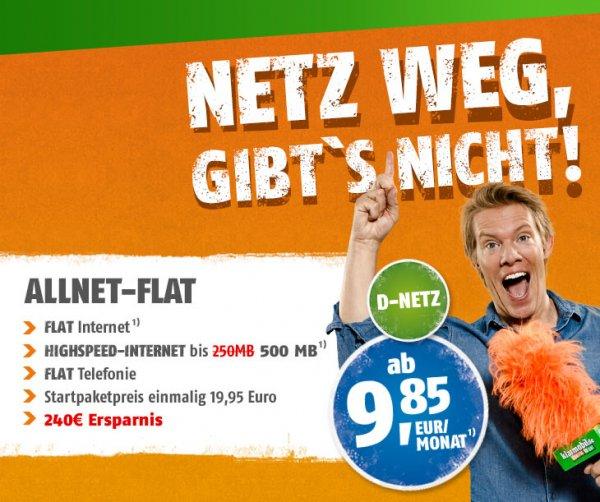 Klarmobil All-Net Flat (Telekom)  mit 500 MB für 9,85 im Monat