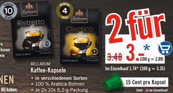 [LIDL] Bellarom Kapseln 2 Packungen à 10 Kapseln für 3€ für Nespresso-Maschinen