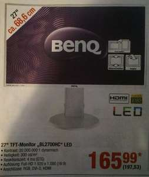 METRO - BENQ BL2700HC weiß - 27' Monitor - 197,53 (165,99 netto)