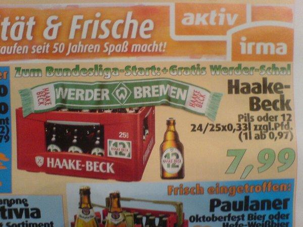LOKAL - Oldenburg / aktiv irma - ab 19.08.: 1 Kiste Haake-Beck + Werder-Schal für 7,99€; Katjes Fruchtgummi für 0,49€.