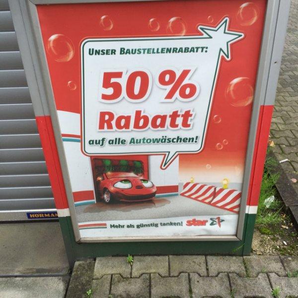 Baustellenrabatt Autowäsche 50%