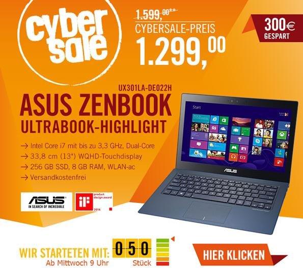CyberSale Asus Zenbook UX301LA-DE022H Intel i7 / 8GB / 256 GB SSD / WQHD (-300€/23% unter Idealo)