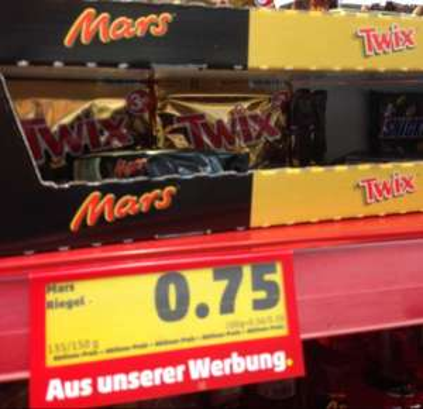 [Lokal Hamburg-Barmbek] Mars, Snickers, Twix 3er Pack für 0,75€