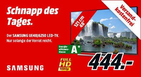 [Mediamarkt] Schnapp des Tages....Samsung UE48J6250 121 cm (48 Zoll) LED-TV, Full HD, 600 PQI, Triple Tuner, WLAN, Smart TV, DLNA, Bluetooth für 444,-€ Versandkostenfrei**Bestpreis**Update..Online nicht mehr Verfügbar.Stand 09.10 Uhr