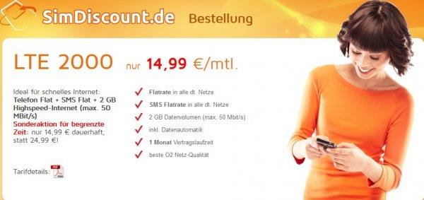 [o2] SimDiscount LTE 2000, Tel-Flat,SmS-Flat,2GB LTE, Datenautomatik deaktivierbar!! mtl. 14,99€