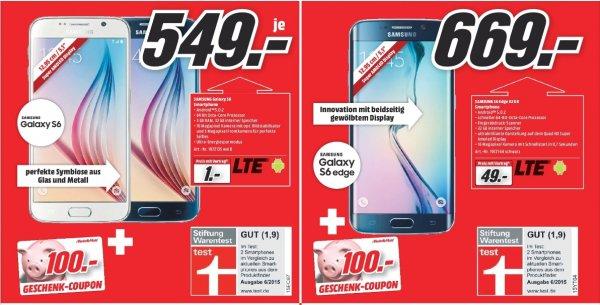 [Lokal Mediamärkte Sinsheim u. Mosbach] Samsung Galaxy S6 für 549,-€ + 100,-€ Geschenktgutschein oder Samsung Galaxy S6 Edge,32GB für 669,-€ +100,-€ Geschenkgutschein***Kostenloses Samsung Galaxy Tab 4 7.0 WiFi + 12 Monate BILDplus Digital inkl. BUND