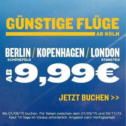 [Ryanair] Flüge von Köln nach London, Kopenhagen oder Berlin ab 4,99 €