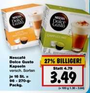 [KAUFLAND BUNDESWEIT] Nescafé Dolce Gusto Kapseln alle Sorten für 3,49€ (27.-29.08.)