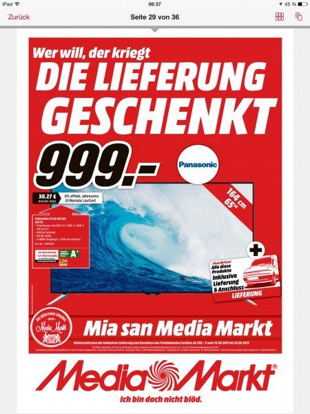 (Lokal München Mediamarkt) Panasonic TX65cw324, 65 Zoll LED TV, Idealo ab 1.378 Euro, hier nur 999
