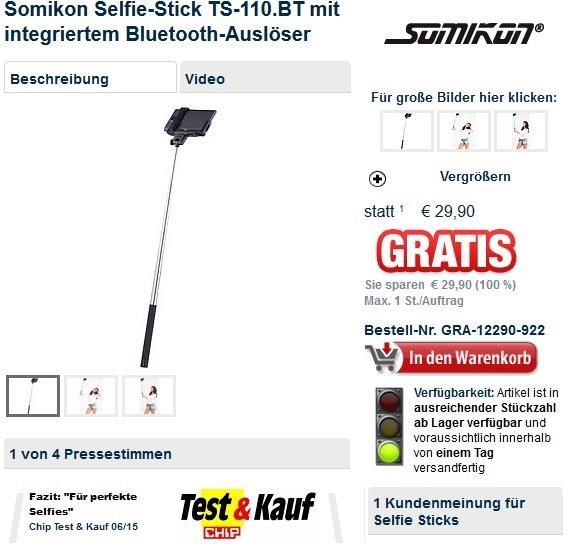 [Pearl] Somikon Selfie-Stick TS-110.BT für nur 4,90 Euro
