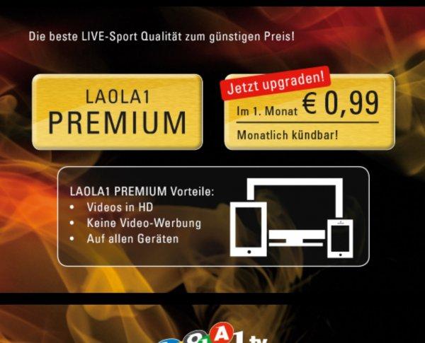 Laola1.tv Premium Mitgliedschaft für 0,99€ im ersten Monat für Neu- und Bestandskunden