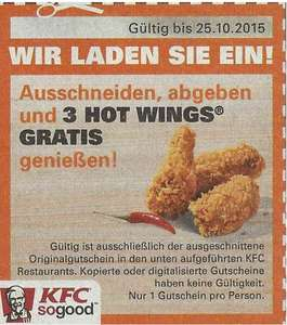 [EinkaufAktuell Berlin / Köln] KFC 3 Hot Wings gratis mit Coupon