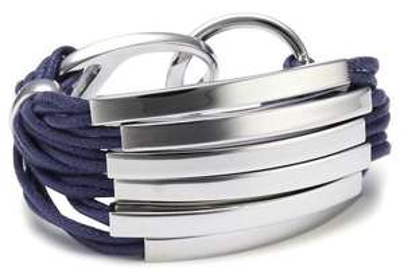 [Amazon] Joop Damen-Armband Edelstahl Construction Baumwolle blau gewachst ca. 19.5 cm