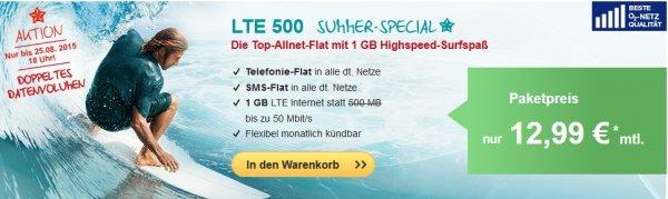 [o2] HelloMobil LTE 500 SummerSpecial, Tel-Flat,SmS-Flat,1GB LTE, Datenautomatik deaktivierbar!! mtl. 12,99€ [Qipu -14€]