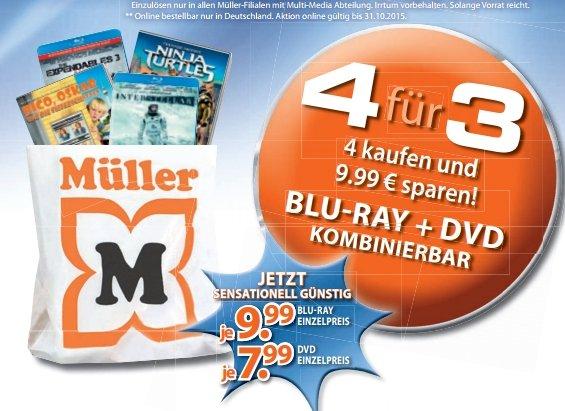 [Müller] 4 für 3 Aktion DVD/BluRay. 4 Artikel kaufen (7,99€/9,99€) und einen Rabatt von 9,99€ erhalten im Zeitraum vom 24.08 - 31.10.