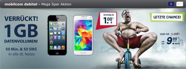 Modeo 02 Vertrag 50Min + 50SMS + 1GB + Samsung Galaxy S5 Mini white für 1€ Zuzahlung 9.99€ im Monat