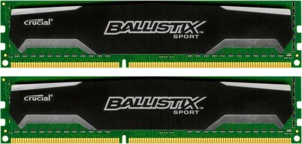 Crucial Ballistix Sport DIMM Kit 8GB - 2x 4GB, DDR3-1600, CL9-9-9-24 - 40,28€ @ voelkner.de
